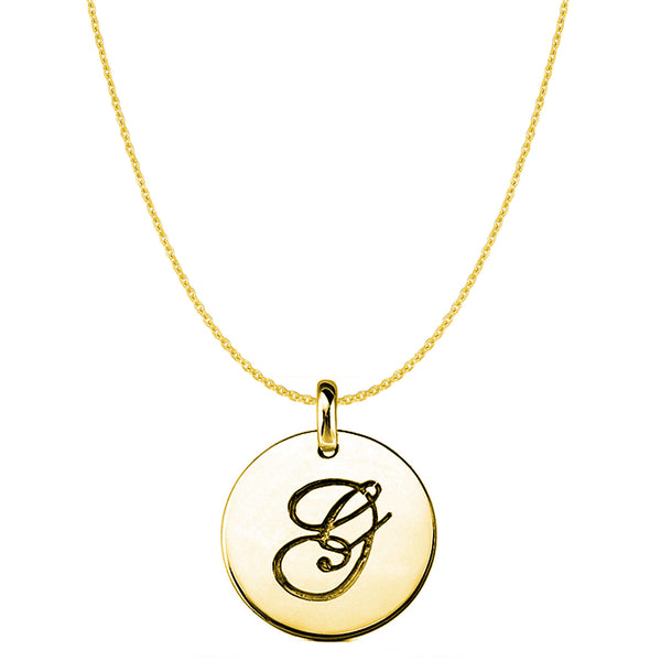 """G"" 14K Yellow Gold Script Engraved Initial Disk Pendant - JewelryAffairs  - 1"