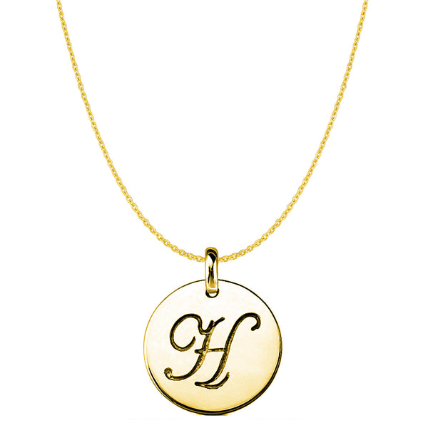 """H"" 14K Yellow Gold Script Engraved Initial Disk Pendant - JewelryAffairs  - 1"