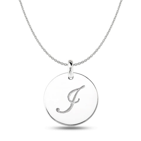 """I"" 14K White Gold Script Engraved Initial  Disk Pendant - JewelryAffairs  - 1"