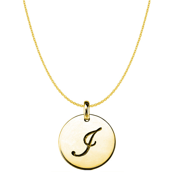 """I"" 14K Yellow Gold Script Engraved Initial Disk Pendant - JewelryAffairs  - 1"