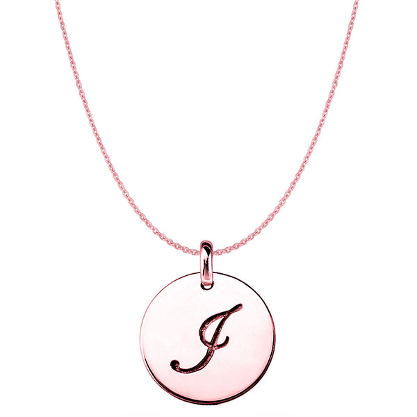 """I"" 14K Rose Gold Script Engraved Initial Disk Pendant - JewelryAffairs  - 1"