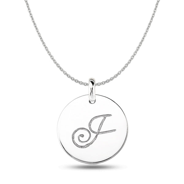 """J"" 14K White Gold Script Engraved Initial  Disk Pendant - JewelryAffairs  - 1"