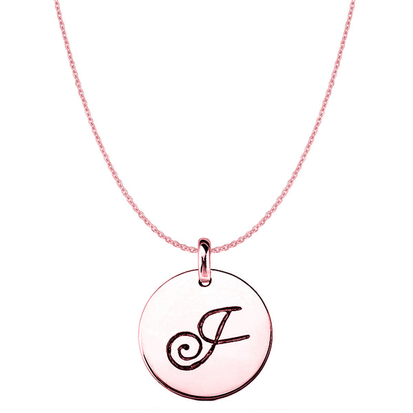 """J"" 14K Rose Gold Script Engraved Initial Disk Pendant - JewelryAffairs  - 1"
