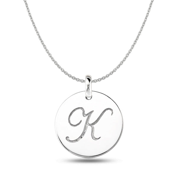 """K"" 14K White Gold Script Engraved Initial  Disk Pendant - JewelryAffairs  - 1"