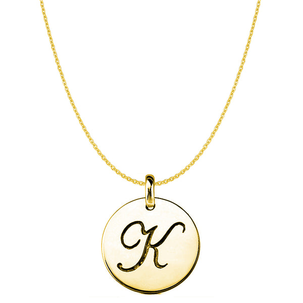 """K"" 14K Yellow Gold Script Engraved Initial Disk Pendant - JewelryAffairs  - 1"
