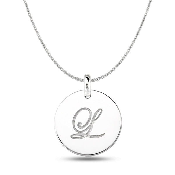 """L"" 14K White Gold Script Engraved Initial  Disk Pendant - JewelryAffairs  - 1"