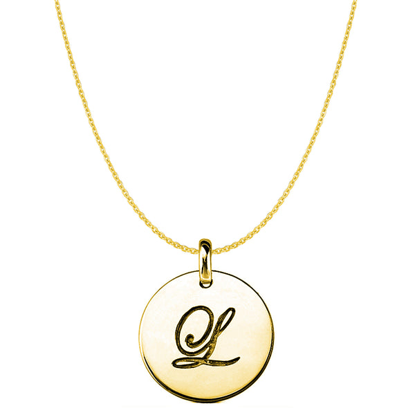 """L"" 14K Yellow Gold Script Engraved Initial Disk Pendant - JewelryAffairs  - 1"