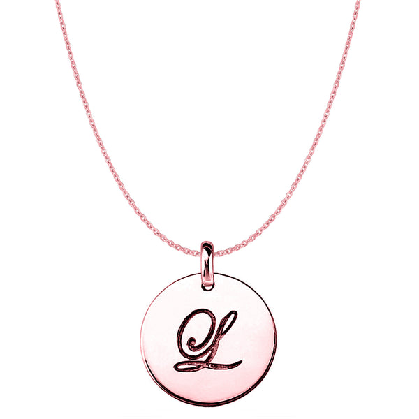 """L"" 14K Rose Gold Script Engraved Initial Disk Pendant - JewelryAffairs  - 1"