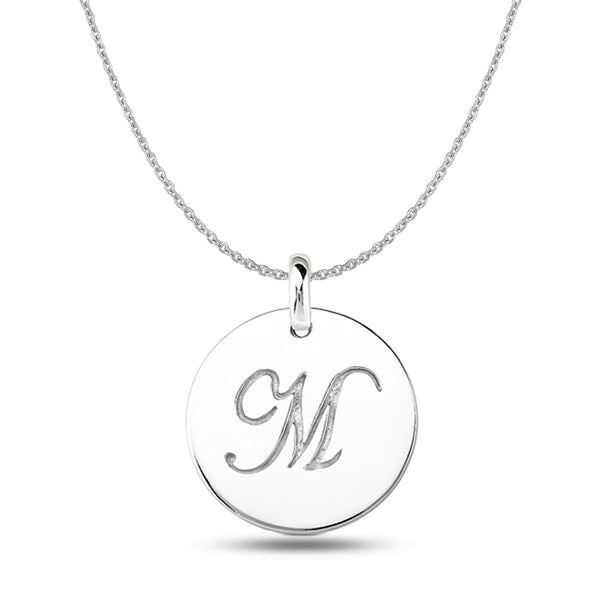 """M"" 14K White Gold Script Engraved Initial  Disk Pendant - JewelryAffairs  - 1"