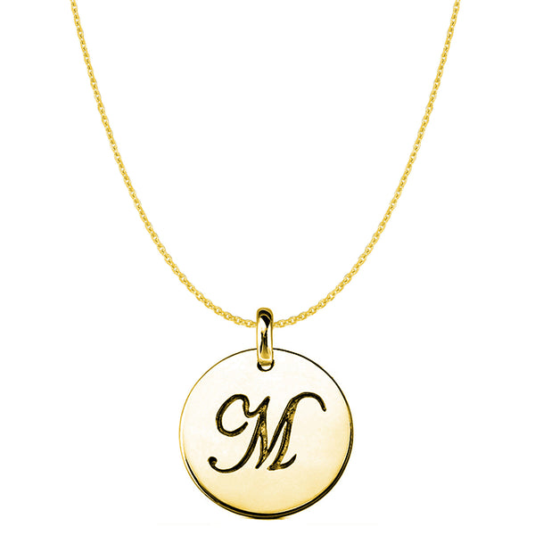 """M"" 14K Yellow Gold Script Engraved Initial Disk Pendant - JewelryAffairs  - 1"