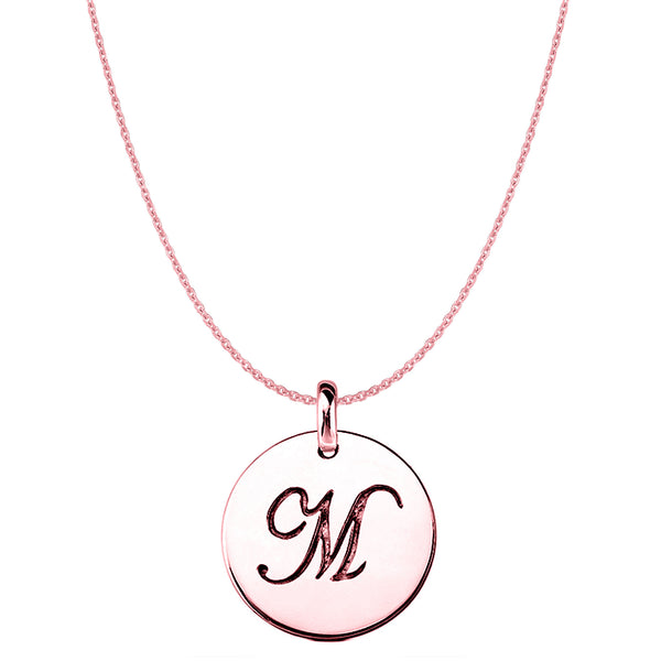 """M"" 14K Rose Gold Script Engraved Initial Disk Pendant - JewelryAffairs  - 1"
