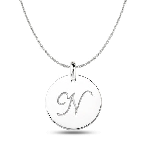 """N"" 14K White Gold Script Engraved Initial  Disk Pendant - JewelryAffairs  - 1"