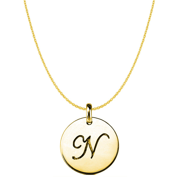 """N"" 14K Yellow Gold Script Engraved Initial Disk Pendant - JewelryAffairs  - 1"
