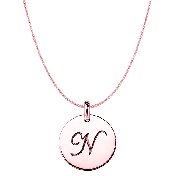 """N"" 14K Rose Gold Script Engraved Initial Disk Pendant - JewelryAffairs  - 1"