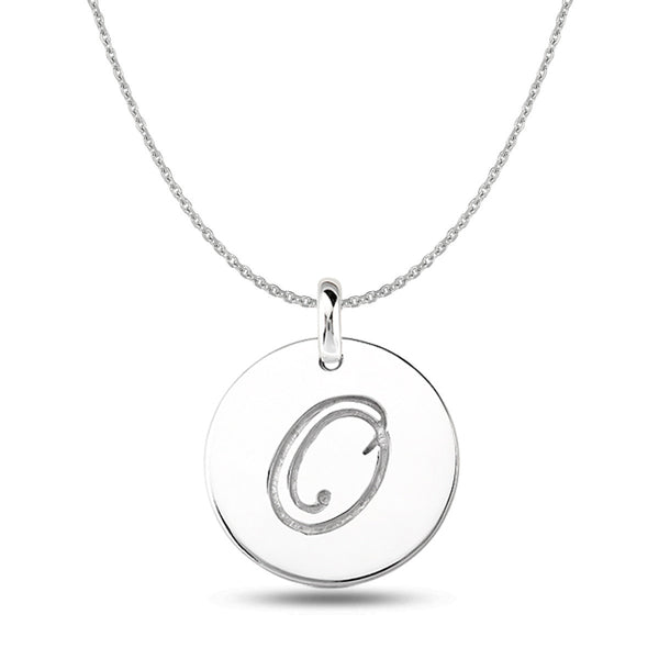 """O"" 14K White Gold Script Engraved Initial  Disk Pendant - JewelryAffairs  - 1"