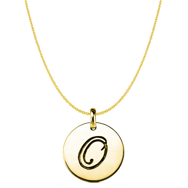 """O"" 14K Yellow Gold Script Engraved Initial Disk Pendant - JewelryAffairs  - 1"