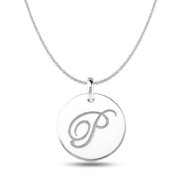"""P"" 14K White Gold Script Engraved Initial  Disk Pendant - JewelryAffairs  - 1"