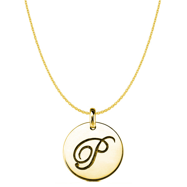 """P"" 14K Yellow Gold Script Engraved Initial Disk Pendant - JewelryAffairs  - 1"