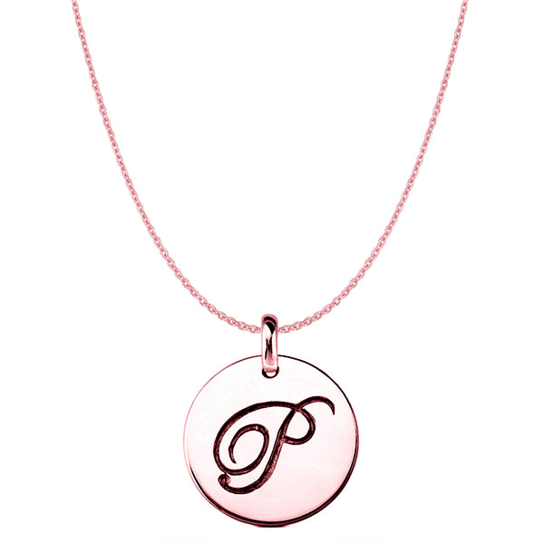 """P"" 14K Rose Gold Script Engraved Initial Disk Pendant - JewelryAffairs  - 1"