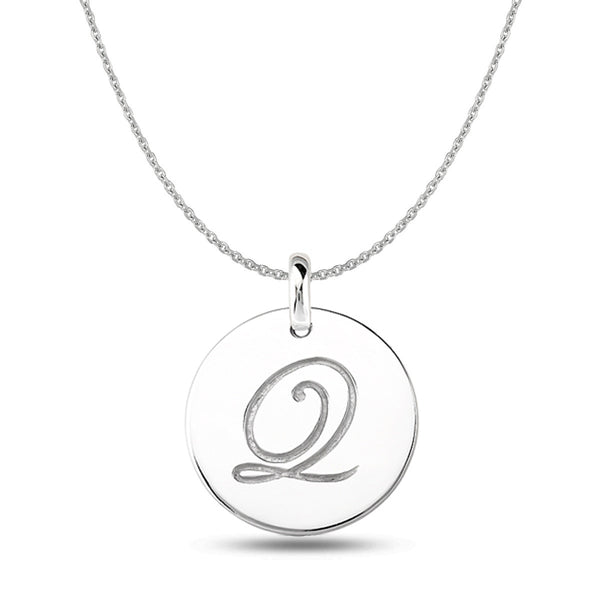 """Q"" 14K White Gold Script Engraved Initial  Disk Pendant - JewelryAffairs  - 1"