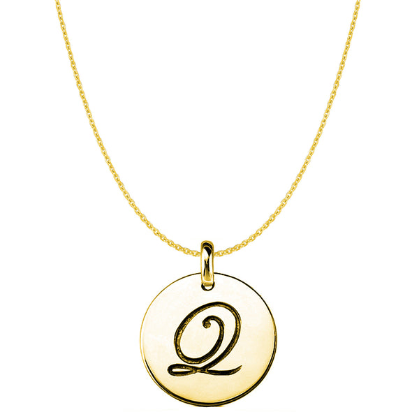 """Q"" 14K Yellow Gold Script Engraved Initial Disk Pendant - JewelryAffairs  - 1"