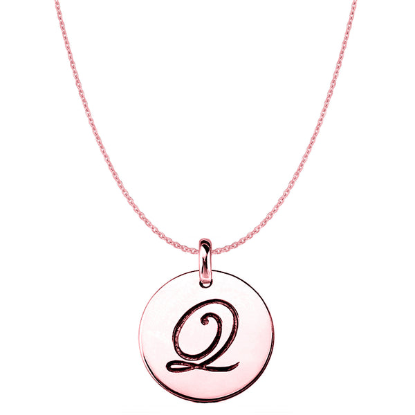 """Q"" 14K Rose Gold Script Engraved Initial Disk Pendant - JewelryAffairs  - 1"