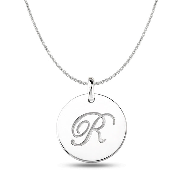 """R"" 14K White Gold Script Engraved Initial  Disk Pendant - JewelryAffairs  - 1"