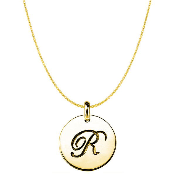 """R"" 14K Yellow Gold Script Engraved Initial Disk Pendant - JewelryAffairs  - 1"