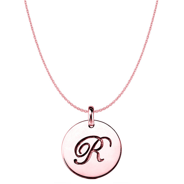"""R"" 14K Rose Gold Script Engraved Initial Disk Pendant - JewelryAffairs  - 1"