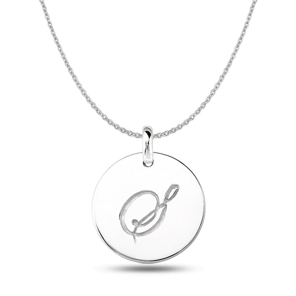 """S"" 14K White Gold Script Engraved Initial  Disk Pendant - JewelryAffairs  - 1"