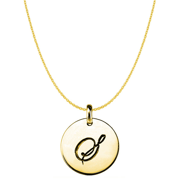 """S""14K Yellow Gold Script Engraved Initial Disk Pendant - JewelryAffairs  - 1"