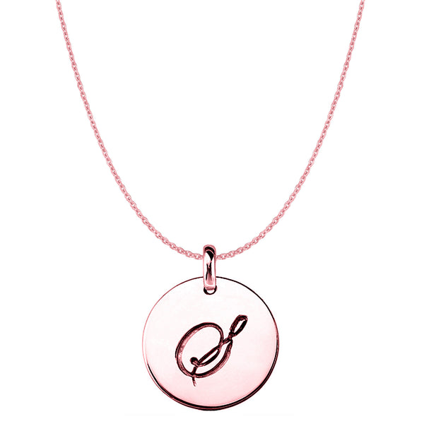 """S"" 14K Rose Gold Script Engraved Initial Disk Pendant - JewelryAffairs  - 1"