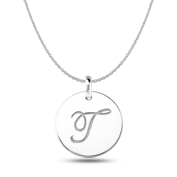 """T"" 14K White Gold Script Engraved Initial  Disk Pendant - JewelryAffairs  - 1"