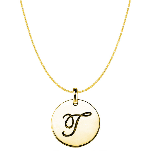 """T"" 14K Yellow Gold Script Engraved Initial Disk Pendant - JewelryAffairs  - 1"