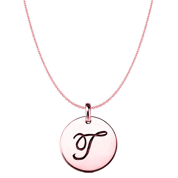 """T"" 14K Rose Gold Script Engraved Initial Disk Pendant - JewelryAffairs  - 1"