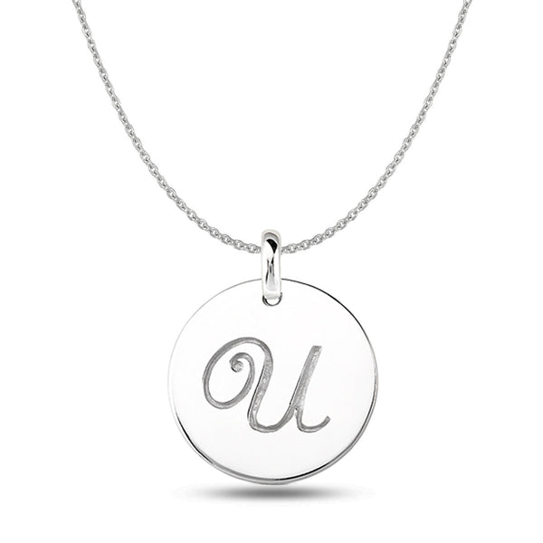 """U"" 14K White Gold Script Engraved Initial  Disk Pendant - JewelryAffairs  - 1"