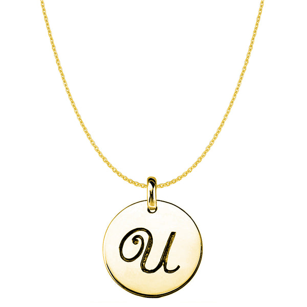 """U"" 14K Yellow Gold Script Engraved Initial Disk Pendant - JewelryAffairs  - 1"