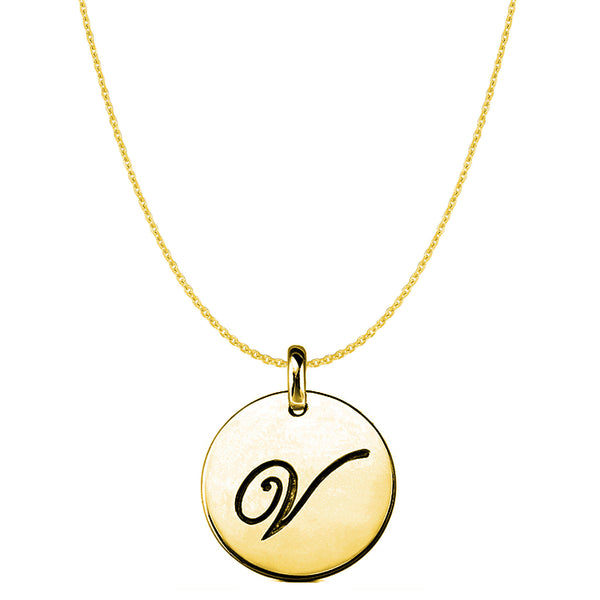 """V"" 14K Yellow Gold Script Engraved Initial Disk Pendant - JewelryAffairs  - 1"