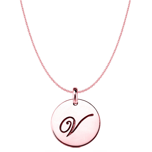 """V"" 14K Rose Gold Script Engraved Initial Disk Pendant - JewelryAffairs  - 1"
