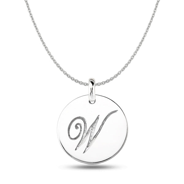 """W"" 14K White Gold Script Engraved Initial  Disk Pendant - JewelryAffairs  - 1"