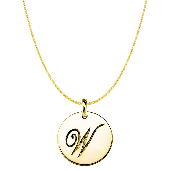 """W"" 14K Yellow Gold Script Engraved Initial Disk Pendant - JewelryAffairs  - 1"