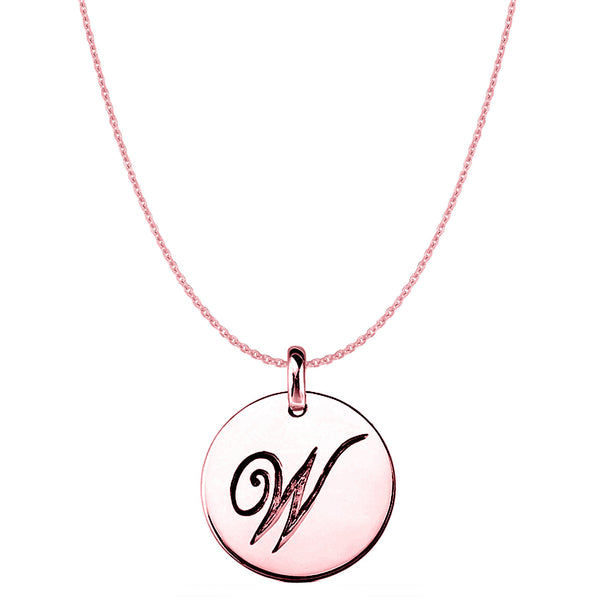 """W"" 14K Rose Gold Script Engraved Initial Disk Pendant - JewelryAffairs  - 1"