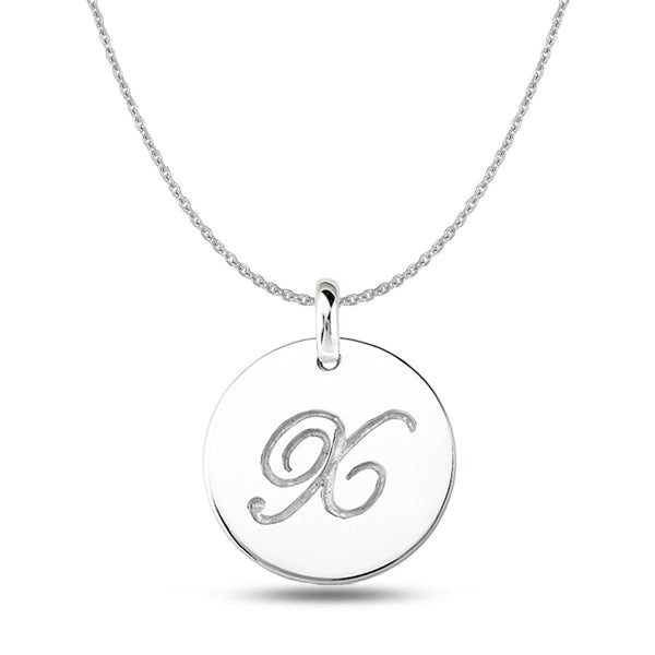 """X"" 14K White Gold Script Engraved Initial  Disk Pendant - JewelryAffairs  - 1"
