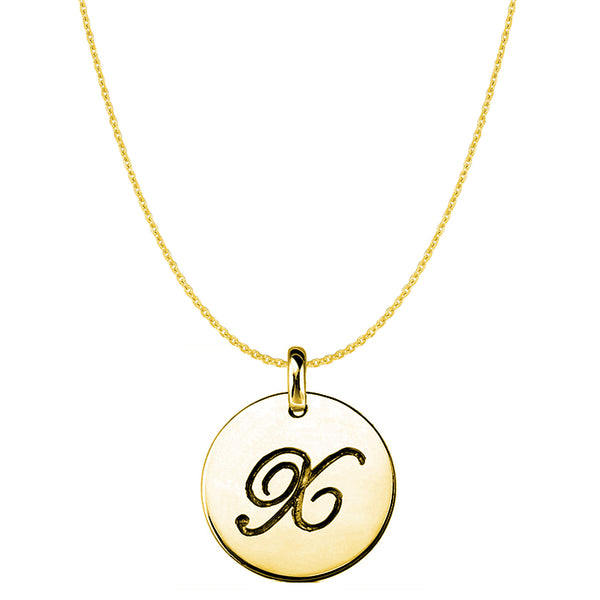 """X"" 14K Yellow Gold Script Engraved Initial Disk Pendant - JewelryAffairs  - 1"