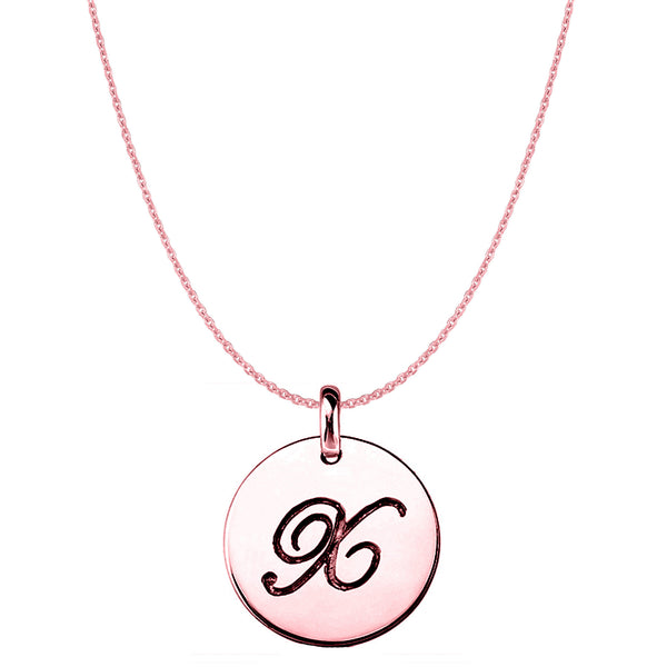"""X"" 14K Rose Gold Script Engraved Initial Disk Pendant - JewelryAffairs  - 1"