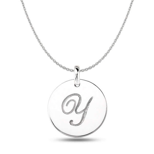 """Y"" 14K White Gold Script Engraved Initial  Disk Pendant - JewelryAffairs  - 1"