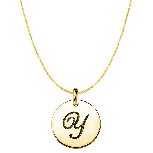 """Y"" 14K Yellow Gold Script Engraved Initial Disk Pendant - JewelryAffairs  - 1"