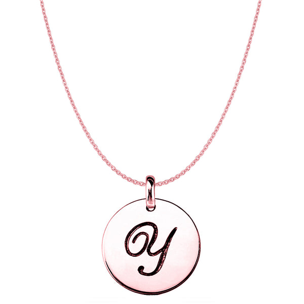 """Y"" 14K Rose Gold Script Engraved Initial Disk Pendant - JewelryAffairs  - 1"