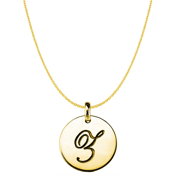 """Z"" 14K Yellow Gold Script Engraved Initial Disk Pendant - JewelryAffairs  - 1"
