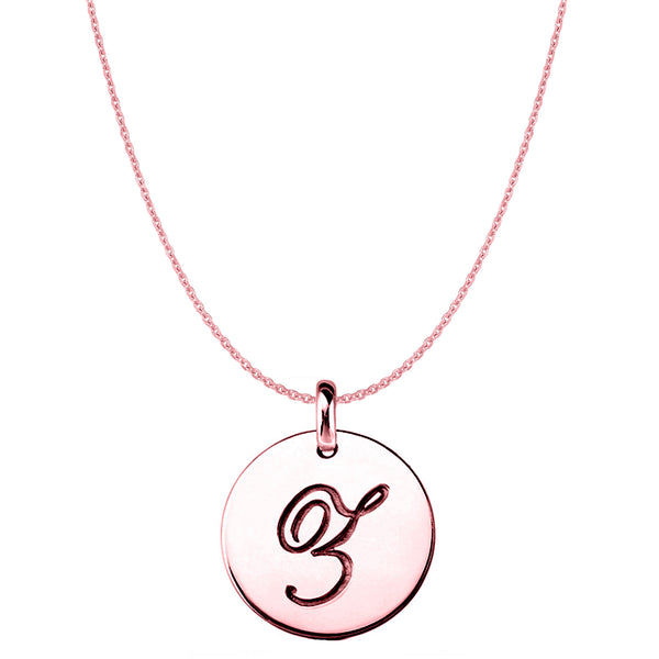 """Z"" 14K Rose Gold Script Engraved Initial Disk Pendant - JewelryAffairs  - 1"